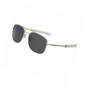 LUDEM Mens Military Aviator Sunglasses Polarized Square 55mm Pilot Bayonet Templ