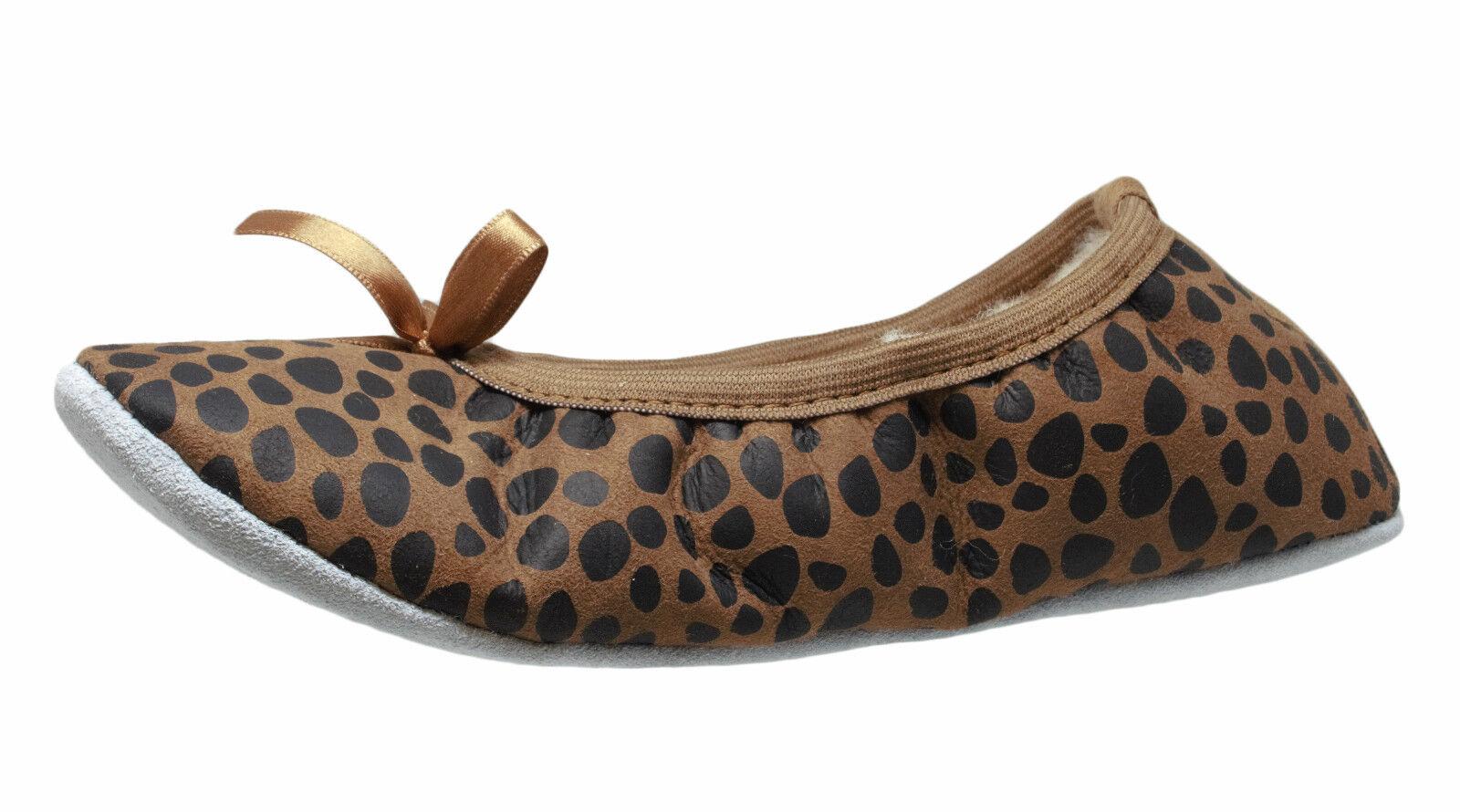 Shepherd 1208 Saga Hausschuhe Ballerinas Slipper Lammfell leopard 36 - 41 Neu