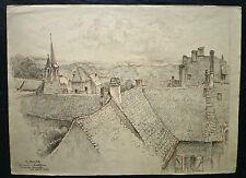 """R. AUGER dessin crayons 1959 """"La Tour d'Auvergne vue de la Terrasse"""""""