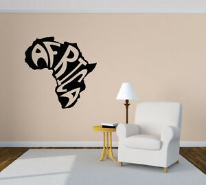 Wall Vinyl Sticker Room Decals Mural Design Africa Map Continent Words bo1259