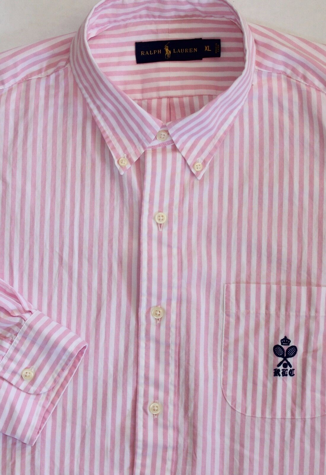 New Polo Ralph Lauren Long Sleeve Pink   White Striped Cotton Shirt   XL