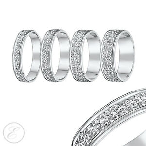Image Is Loading 9ct White Gold Ring Diamond Cut Flat Wedding
