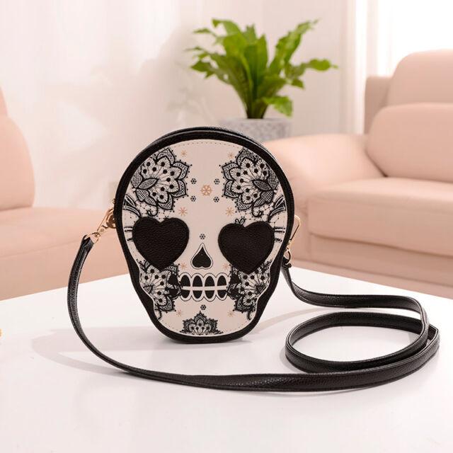 Fashion Lady Gothic Skull Pattern Messenger Packet Single Shoulder Bag Handbag
