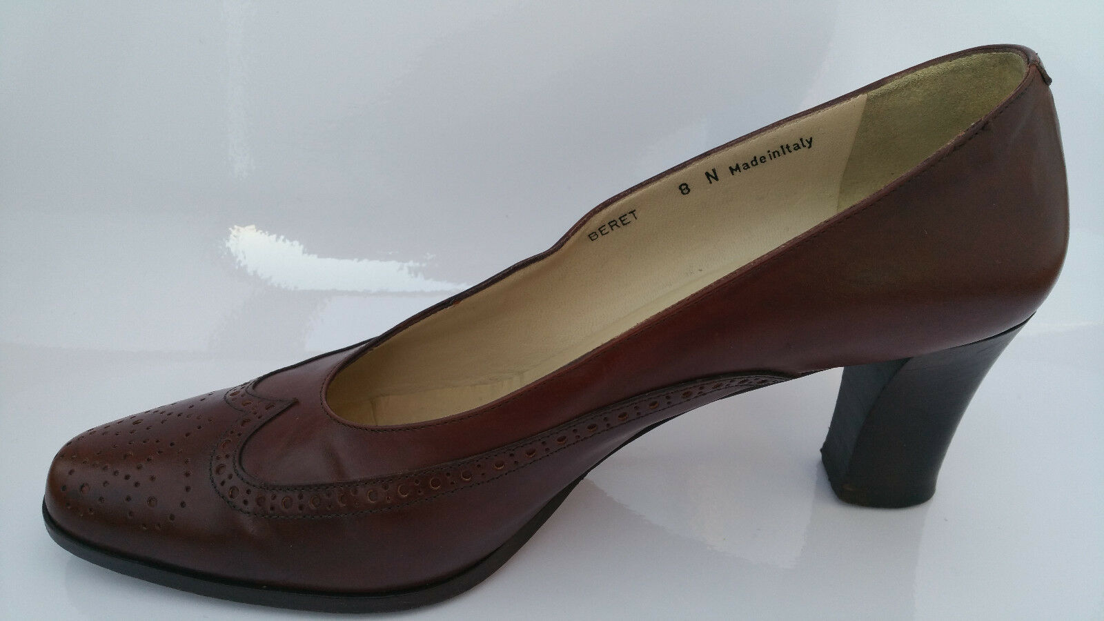 BALLY BERET damen 8 N schuhe braun Leather Secretary Pumps Brogue Wingtip schuhe N Heels 633910