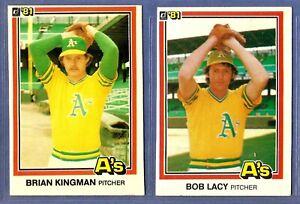 1981-Donruss-Baseball-Cards-2-Card-Lot-Brian-Kingman-Bob-Lacy-A-039-s