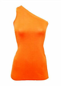 One-Shoulder-Top-orange-rot-Unifarben-Figurbetont-Freizeit-Viskose-Elastan-039