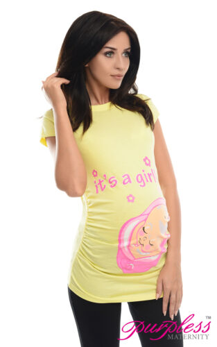 It/'s a Girl-Adorable Slogan Cotton Printed Maternity Pregnancy Top T-shirt 2001