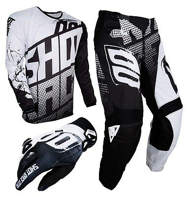 Kids Childs BMX Kit Jersey Pantalon Gants Noir et Blanc Shot Clothing