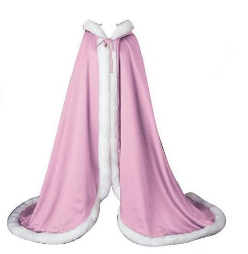 Luxury Womens Female Wedding Winter Thick Faux Fur Cloak Trench Coat Cape Hooded