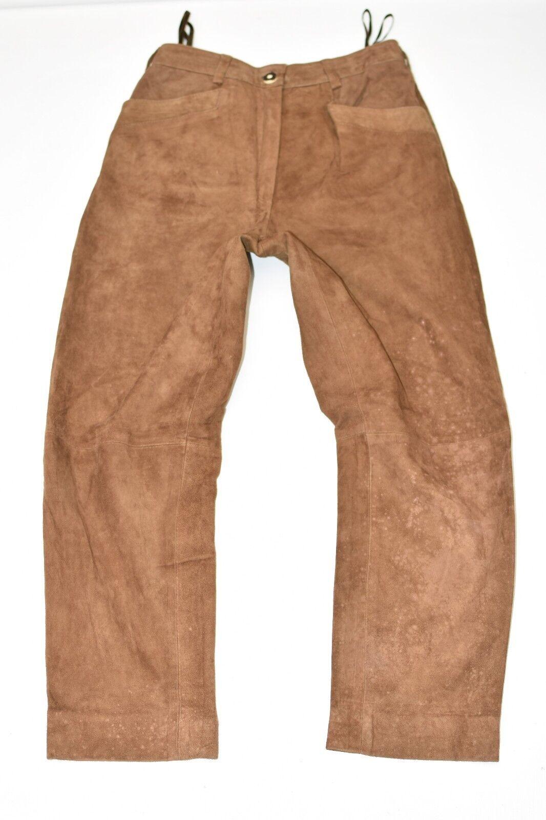 Vintage Brown Leather GUNDI Straight Biker Women's Trousers Pants Size W29  L27