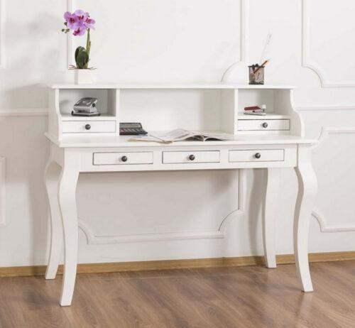 Schreibtisch Damen-Sekretär Chippendale Antik Stil Tisch massiv weiß Landhaus