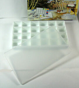 Oil-Watercolor-Gouache-Acrylic-Paint-Palette-Tray-24-Wells-New
