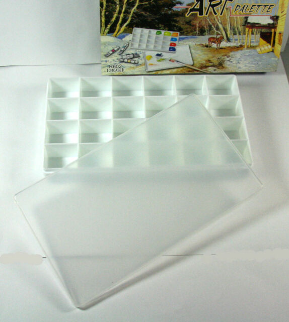 Oil Watercolor Gouache Acrylic Paint Palette Tray 24 Wells New
