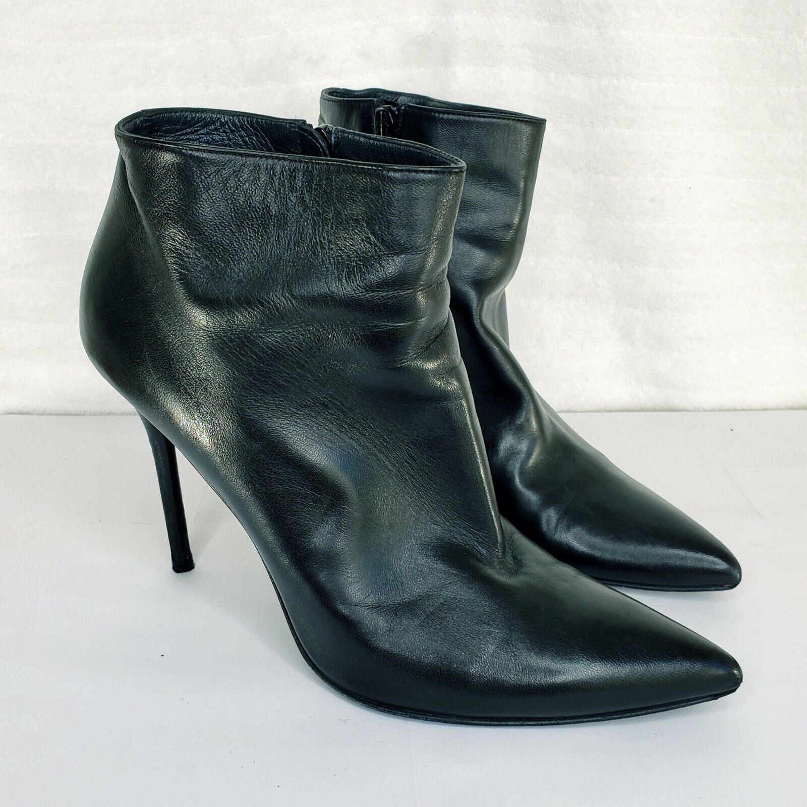 STUART WEITZMAN Womens Black Leather Zip High Heel Ankle Boots Size 9.5M QW16305