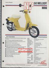 Honda-UK NP50 Melody Mini (1983) Data Sheet/Brochure NP 50,Scooterette,AB14