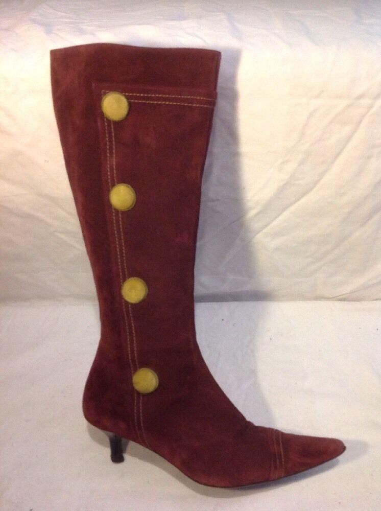 L.K.Bennett Maroon Knee High Suede Boots Size 39