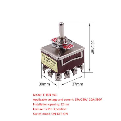 Micro interruptor en OFF Interruptor DPDT momentáneo mantenido 3PDT 15A//250V 10A//380V