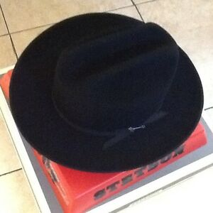 Stetson Cowboy Hat 4X Beaver Felt Black Open Road With Hat Brush ... 27eb6cee1fc
