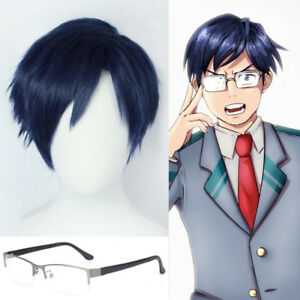 Details About My Boku No Hero Academia Iida Tenya Wig Dark Blue Anime Cosplay Wig Free Cap