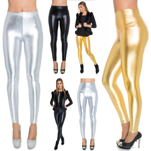Womens Faux Leather High /& Classic Waisted Leggings Silver Gold Black Shiny