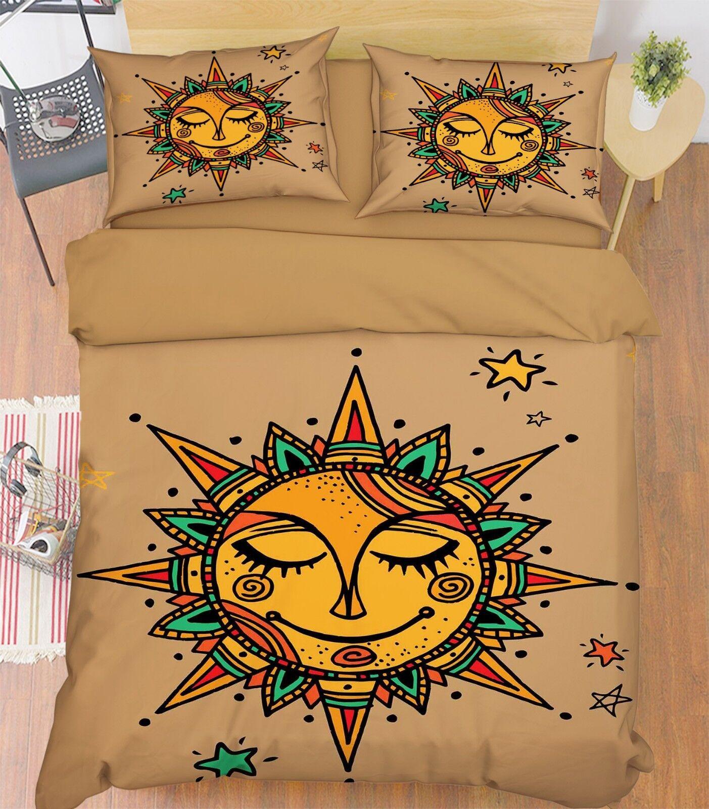 3D Painting Sun 577 Bed Pillowcases Quilt Duvet Cover Set Single King UK Summer