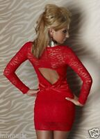 042 SEXY STUNNING CLUBBING BODYCON STRETCH LONG SLEEVE LACE MINI DRESS ONE SIZE