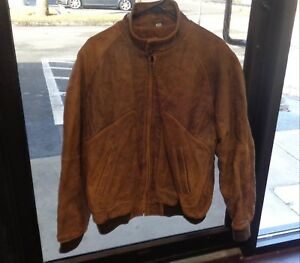 OakBrook-Men-Size-MT-Brown-Leather-Bomber-Style-Jacket-Flannel-Lined