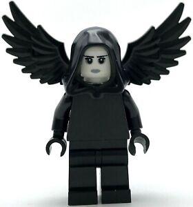 Lego-Neuf-Ange-de-Mort-Grim-Reaper-Mini-Figurine-Tout-Noir-avec-Ailes