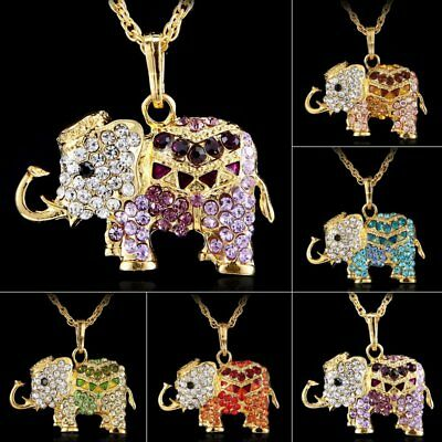 Fashion Elephant Animal Crystal Pendant Necklace Long Chain Family Gift Jewelry