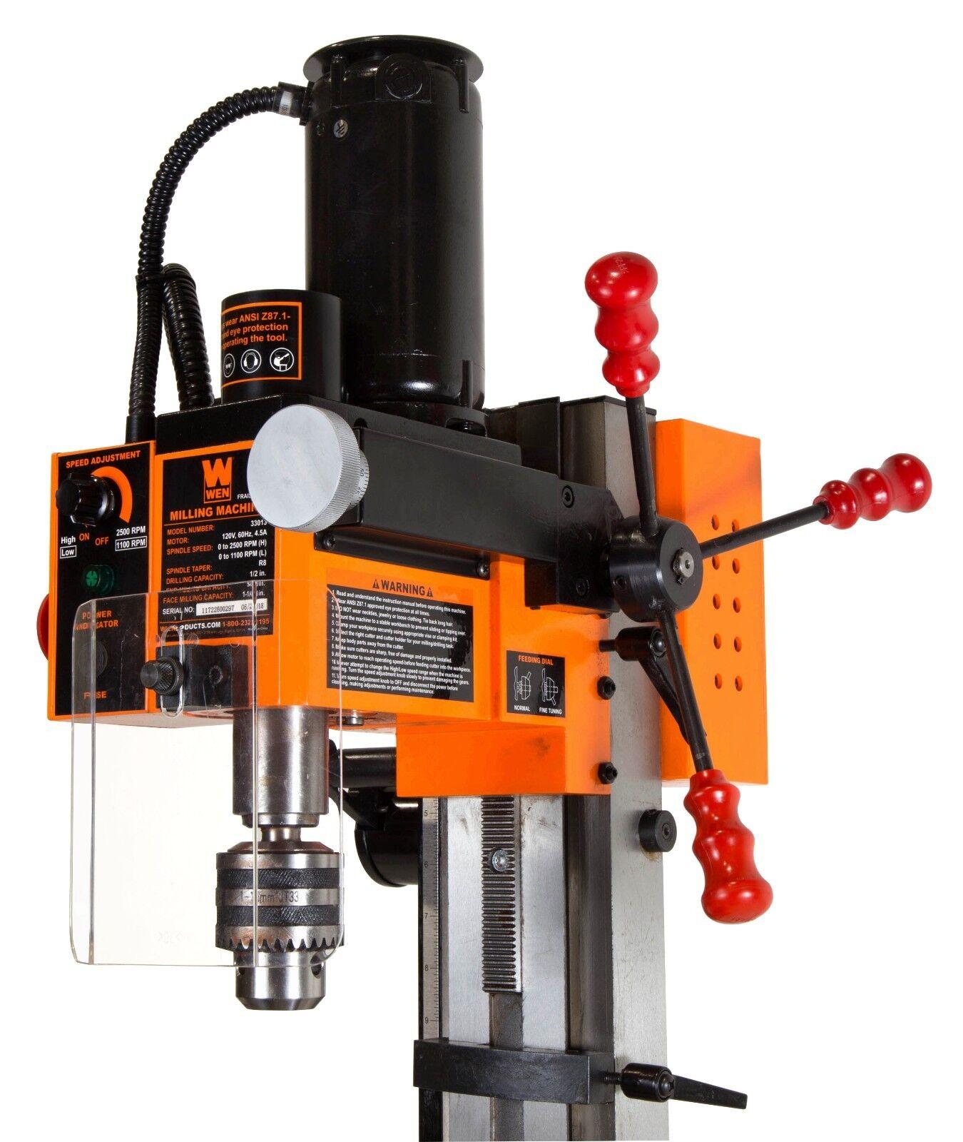 WEN 33108A 8-Piece 2-Flute HSS End Mill Set for Milling Machines