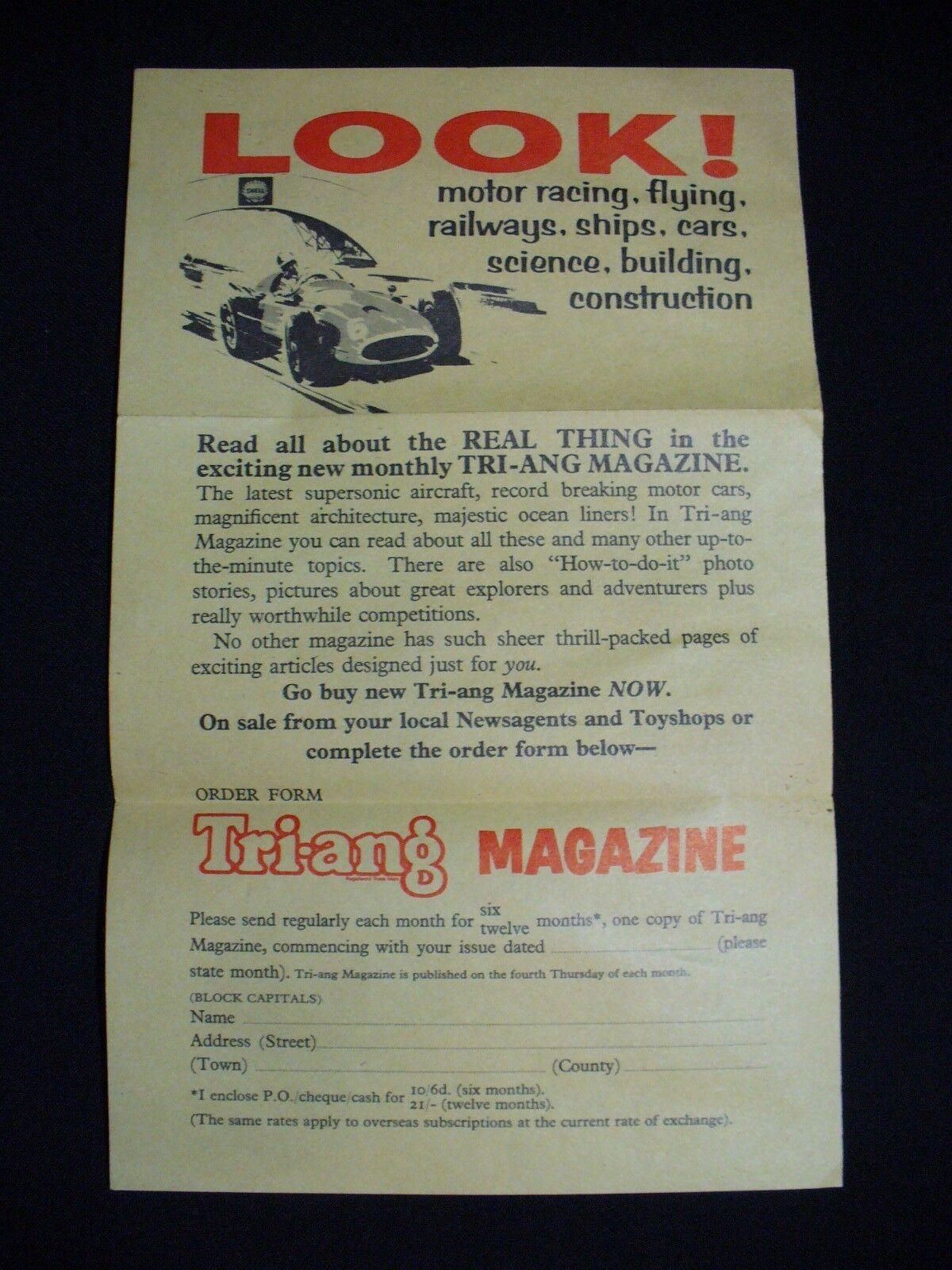 Vintage Triang Scalextric Magazine Club 1960's. Extremely Rare