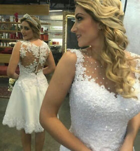 2019 Short Knee Length Ivory White Lace Wedding Dresses Beach Bridal