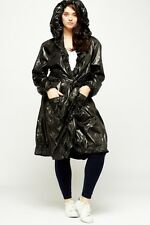 PVC Type Women's Coat Black Raincoat Frill Detail Shiny Mac Jacket