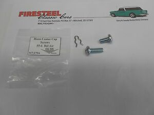 1955-1956-Chevy-BelAir-Nomad-17-179A-HORN-RING-CENTER-CAP-SCREW-SET-New