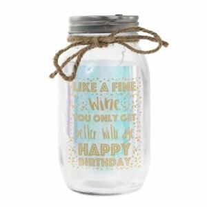 Led Light Up Firefly Glass Fairy Mason Jar Happy Birthday Gift