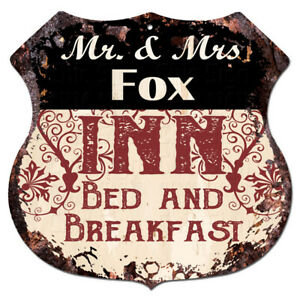 BPLI0167-Mr-amp-Mrs-FOX-INN-Bed-amp-Breakfast-Custom-Personalized-Tin-Sign