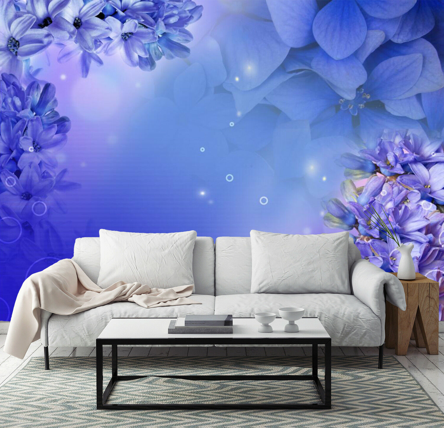 3D Blau Flowers Stars 845 Wallpaper Mural Paper Wall Print Wallpaper Murals UK