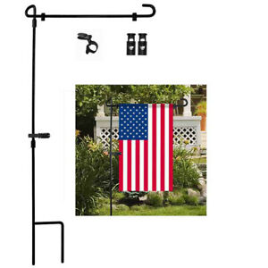 Garden-Iron-Flag-Pole-Outdoor-Yard-Flags-Stand-Holder-Banner-Bracket-Stoppers