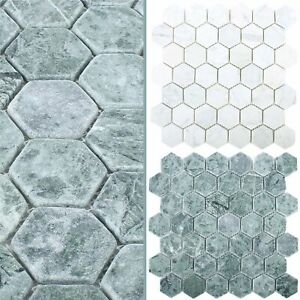 Details zu MUSTER Mosaikfliesen Marmor Wutach Hexagon | Bad Wohn-  Badezimmer Bordüren WC