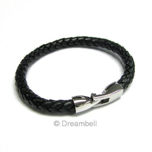"Steel Braided Leather 6mm Wristband Bracelets 8/"" S"