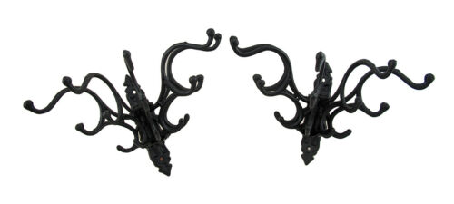 Coat Scarf Holders Zeckos Set of 2 Cast Iron Victorian Style 5 Hook Hat