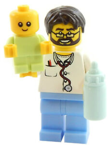 NEW-LEGO-PEDIATRICIAN-w-BABY-Minifig-Lot-male-doctor-dr-md-hospital-minifigure