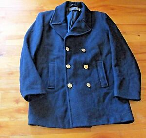 VINTAGE-Men-039-s-Sz-40-M-MED-Gloverall-REEFER-Navy-Wool-Peacoat-England-Anchor