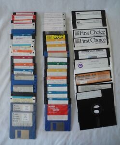 Vtg-Floppy-Disks-MS-Dos-5-0-Games-Software-AOL-Mixed-Lot-of-44-With-Case