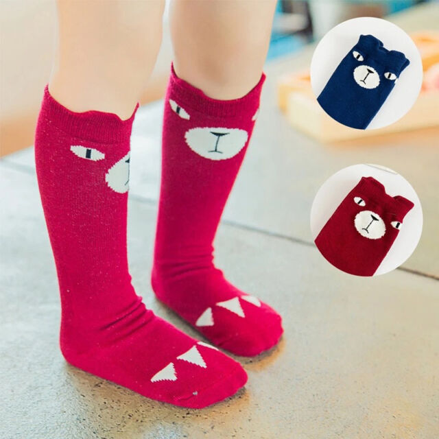 Korean Style Toddlers Girls Bear Pattern Knee High Socks For Age 1-4 Years Hot
