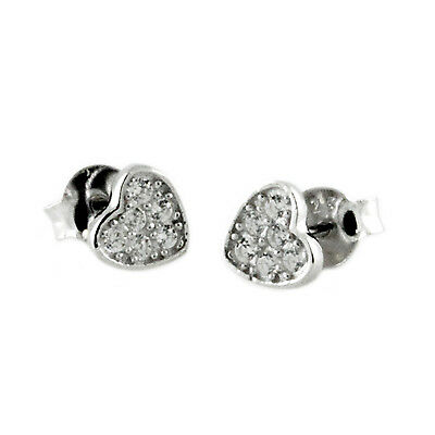 Sterling Silver 925 Cubic Zirconia Paved Set Petite Hearts Stud Earrings
