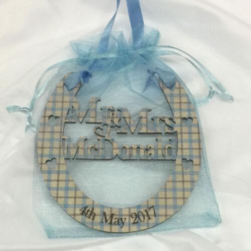 Tartan Wedding Horseshoe Bridal Gift Mr and Mrs Good Luck Personalised Keepsake
