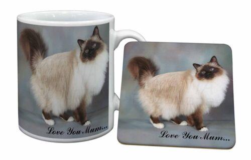 AC-30lymMC Birman Cat /'Love You Mum/' Mug+Coaster Christmas//Birthday Gift Idea
