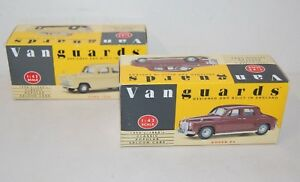 Pair-of-Vanguards-1950-039-s-60-039-s-Classic-Cars-Rover-P4-Ford-100E-1-43-Scale