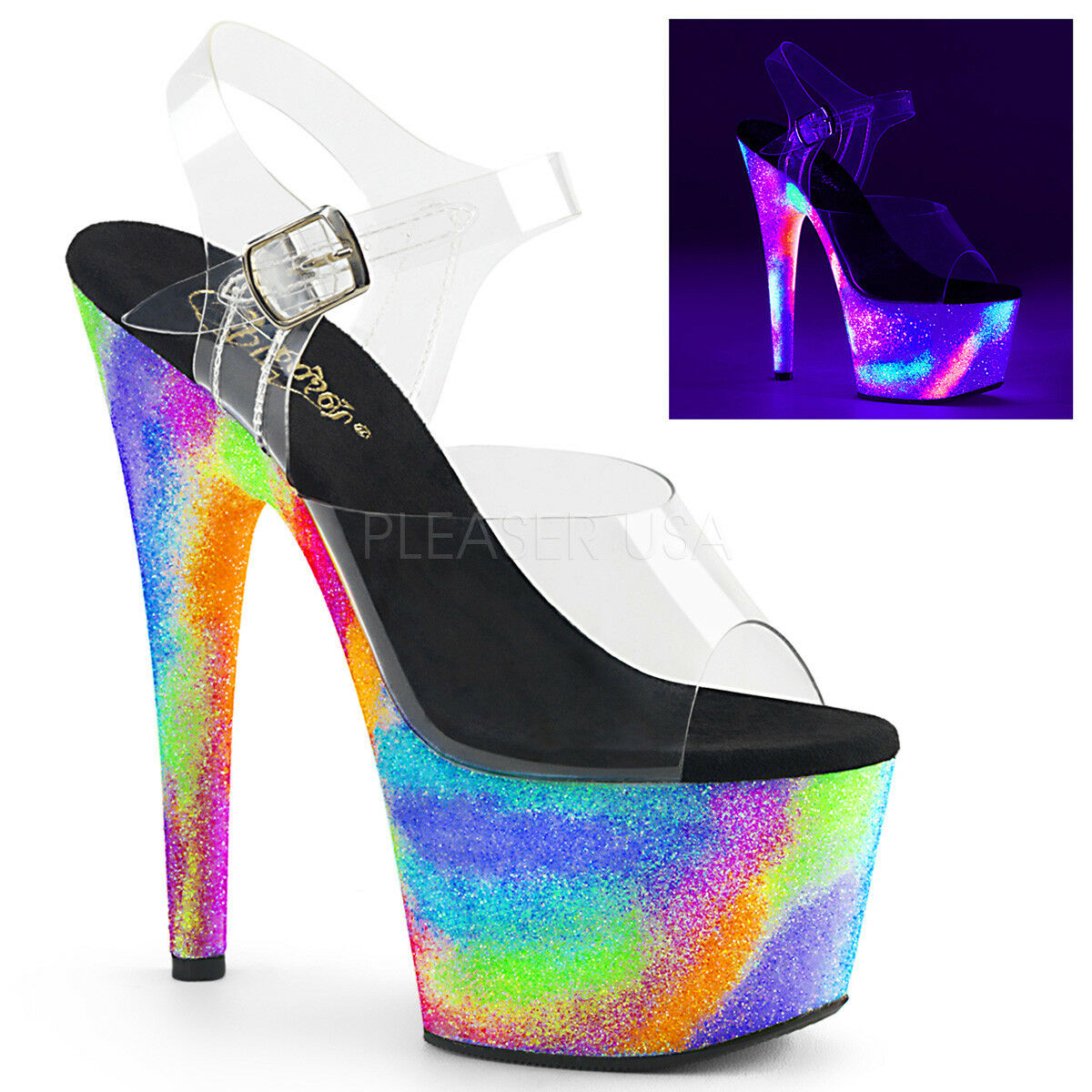 PLEASER Sexy 7    Heel Neon Galaxy Glitter Platform Stripper Dancer Clear schuhe 84827f